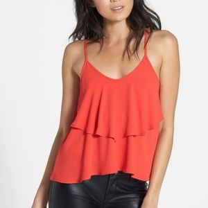 ASTR - Red Ruffled Crop Top